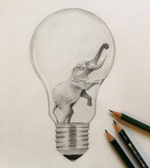 Elefant in Glühbirne Zeichnung