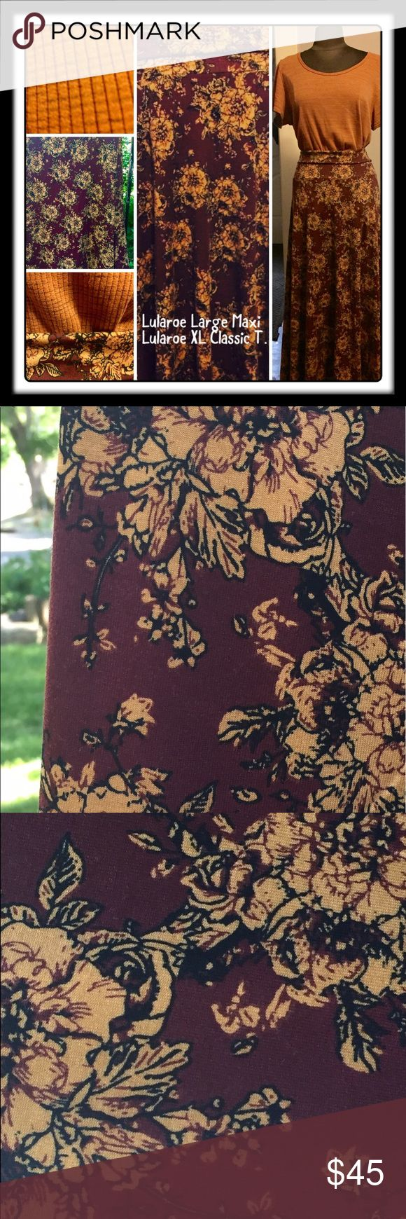 💛Lularoe Large Maxi Skirt & XL Classic Tee💛 These 2 Lula pieces have been worn 1 time together. I got the skirt and then had to search high and low for the shirt to match. It's a gorgeous outfit--deep mauveish/purple background with golden/mustard flowers with black outline. I am slimming out my Lula wordrobe as I am a bit obsessed! 😬 These pieces may be purchased separate or together. Asking $17 (FIRM) on the Maxi and $25 (FIRM) on the Classic T. Outfit is $45!!! check out my flyer and…