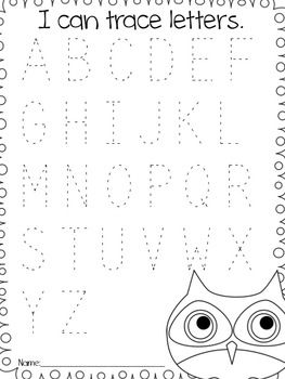 Back to School Owl Pack: tracing letters assessment