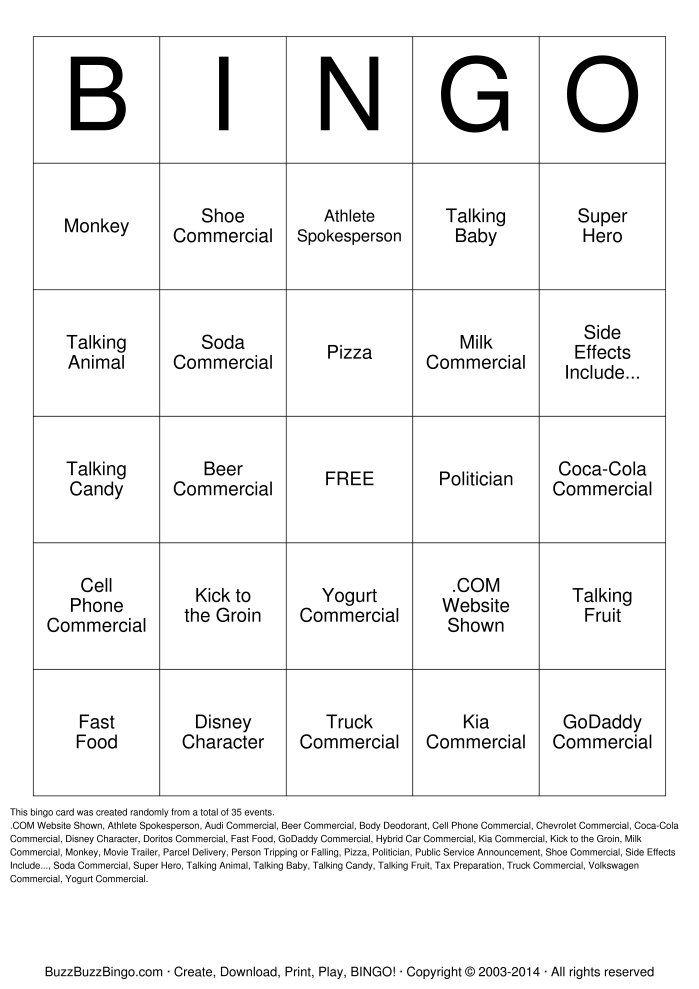 Randomly Generated 2015 Superbowl Commercials Bingo Card. 2015 ...