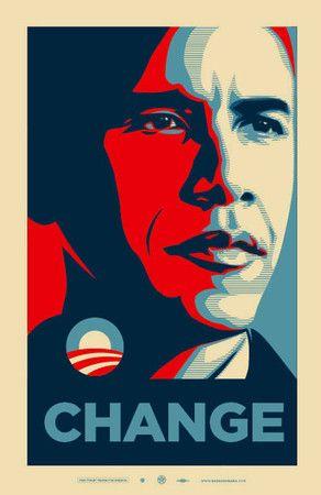 Shepard Fairey - Obama Change Poster