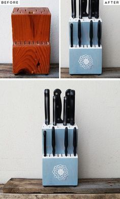 Upstyle an Old Knife Block | Click Pic for 28 DIY Kitchen Decorating Ideas on a Budget | DIY Home Decorating on a Budget