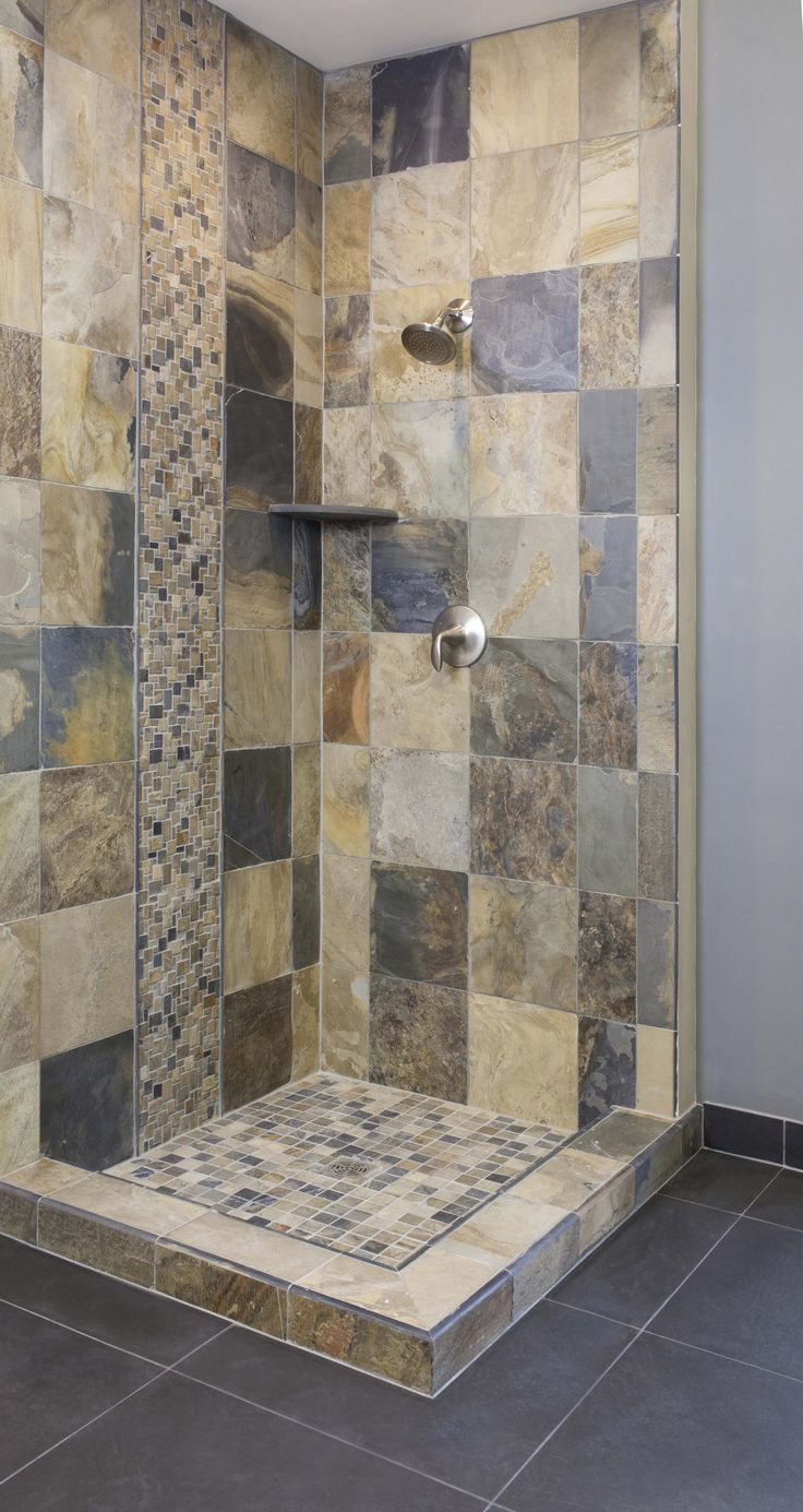 Rustic modern slate shower thetileshop bathroom for Cabin shower tile ideas