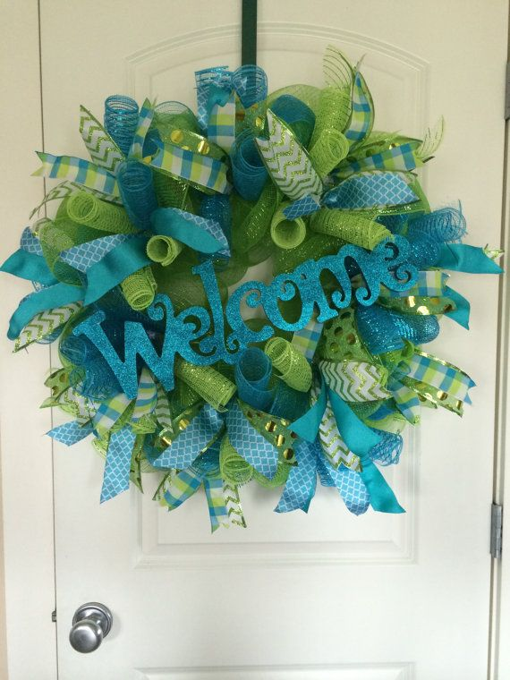 Spring Wreath Summer Deco Mesh Welcome Everyday Teal Lime Green Front Door Burlap Tulle