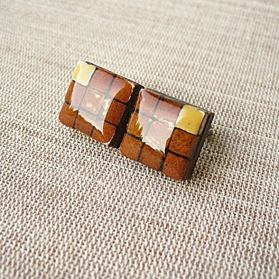 Brown Square Posts Micromosaic Wooden Posts by StudioLadybird, $25.00