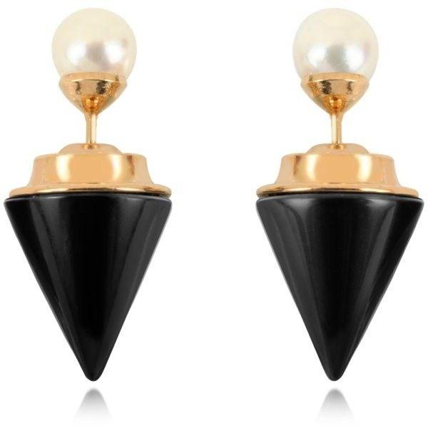 Vita Fede Double Titan Stone Pearl Earrings w/Akoya Pearls found on Polyvore featuring jewelry, earrings, stone jewellery, pearl jewellery, vita fede, stone earrings and stone jewelry