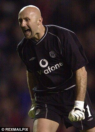 Fabien Barthez celebrates while playing for Manchester United