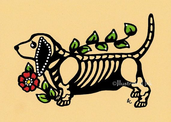 Day of the Dead Dog BASSET Hound Dia de los by illustratedink, $10.00