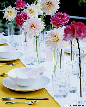 Delicate and airy, this centerpiece composed of single blossoms lets you make the most of a limited group of flowers