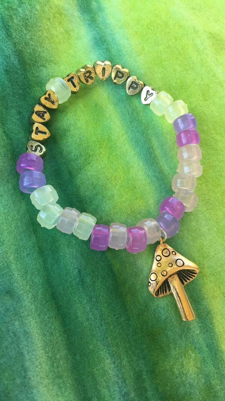 Kandi Bracelet Stay Trippy Mushroom Charm Color Changing