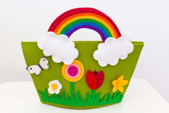 Rainbow and spring flowers purse handbag with magnetic clasp from Babes in the Woods. Available to buy on etsy.com