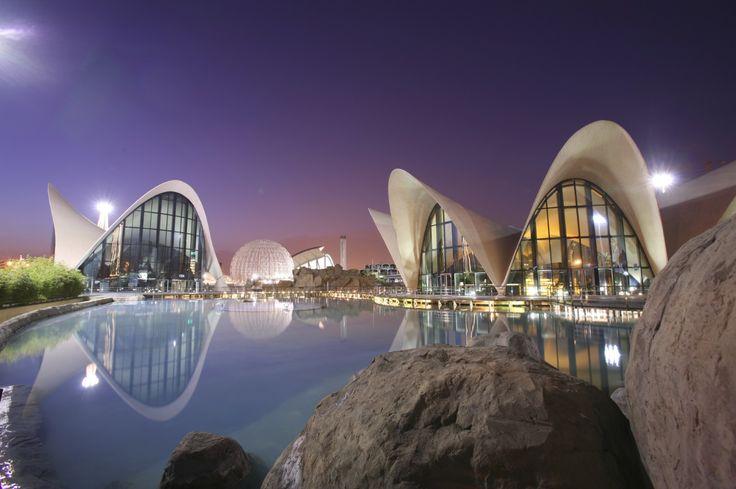 Foto #panorámica nocturna del exterior del restaurante Submarino en el marco del #Oceanografic #Valencia www.restaurantesubmarino.es