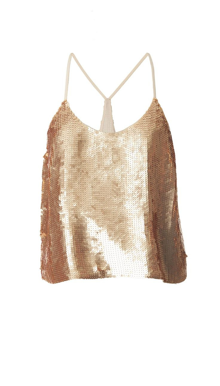 Adorned fully in sequins, this strappy cami is slightly cropped to pair perfectly with a high-waisted bottom. The eye-catching top looks best in either a head-to-toe look or as the