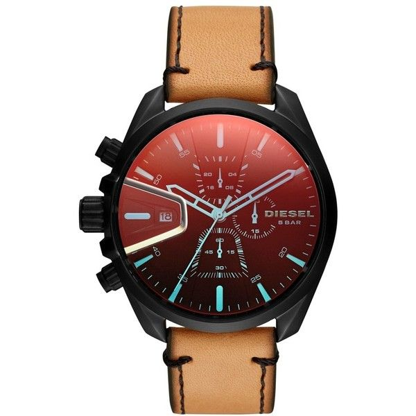Diesel Ms9 Chronograph Leather Strap Watch, 47Mm ($220) ❤ liked on Polyvore featuring jewelry, watches, chronos watch, dial watches, rugged watches, colorful jewelry and chronograph watches