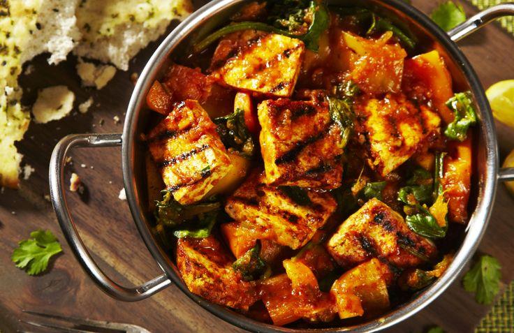 Tofu Saag Jalfrezi. A zesty citrus marinade, Cauldron Tofu, a chargrill and a spicy hot jalfrezi – a delicious combo!