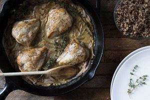 Quick, easy, healthy, and only 10 ingredients! Dijon + Thyme Springer Mountain Farms Chicken with White Wine Sauce | kitchen1204.com