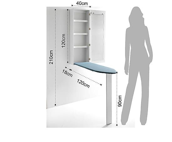 Espejo mueble planchador Practik, blanco - 120x18 cm