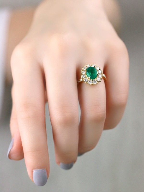 One Of A Kind Emerald And Diamond Engagement Solid 14k Yellow Gold 14ky Colored Stone Estate Ring Gold Ring Designs Engagement Rings Sapphire 14k Engagement Ring
