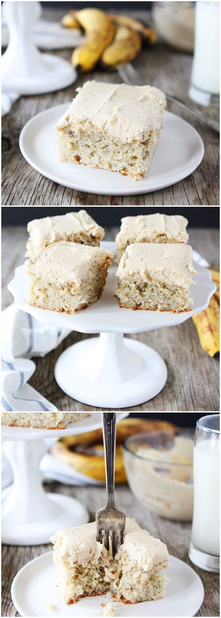 Easy Banana Cake with Peanut Butter Frosting Recipe on twopeasandtheirpo... This recipe is a keeper! It is so easy and SO good!