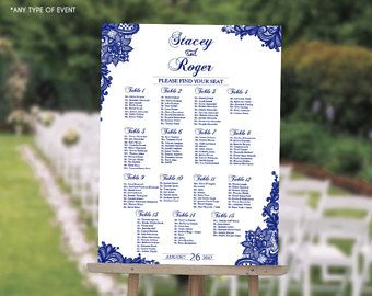 wedding seating chart board elegant royal blue printable printed seating chart guest list chart seating chart template any color scw0016