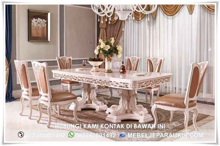 Set Meja Makan Mewah Baroque Italian Klasik – Mewujudkan keinginan anda memiliki meja makan mewah untuk kebutuhan keluarga anda. Menjawab kebutuhan furniture Mewah dan klasik yang anda cari untuk melengkapi kebutuhan furniture anda.