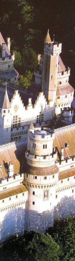 Pierrefonds, Picardie. France. One of the most handsome medieval castles in France.  Built of white stones....beautiful.