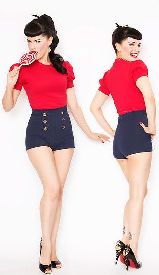 Bernie Dexter Pin Up Grable Top & Shorts (by Bernie   Dexter) http://lookbook.nu/look/2220731-Bernie-Dexter-Pin-Up-Grable-Top-Shorts