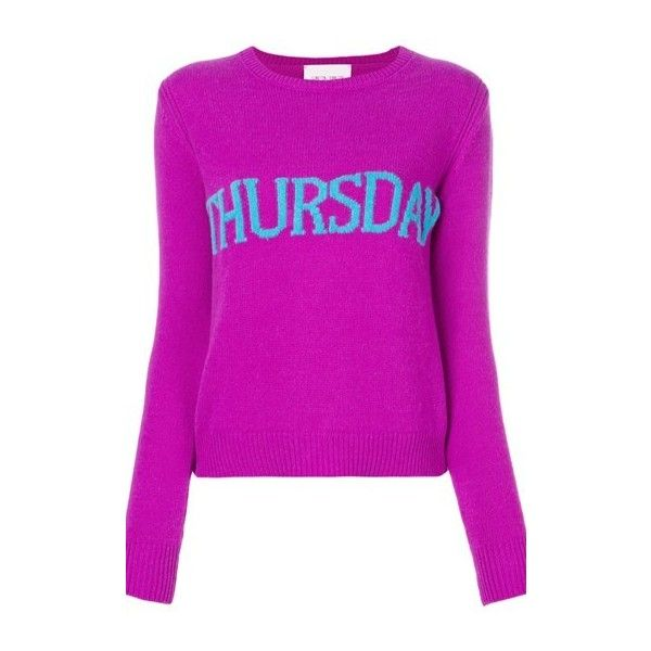 ALBERTA FERRETTI Thursday Intarsia Jumper (9,060 EGP) ❤ liked on Polyvore featuring tops, sweaters, pink, alberta ferretti tops, purple jumper, jumpers sweaters, purple sweater and purple top