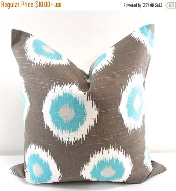SALE Brown pillow Cover Blue and brown Ikat Domino Sham