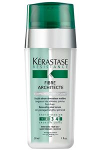 Kerastase Fibre Architecte :: A reparative dual-serum that reconstructs the hair fiber both inside and out - restoring strength and shine. A must have for sealing and repairing brittle, very damaged lengths and split ends.