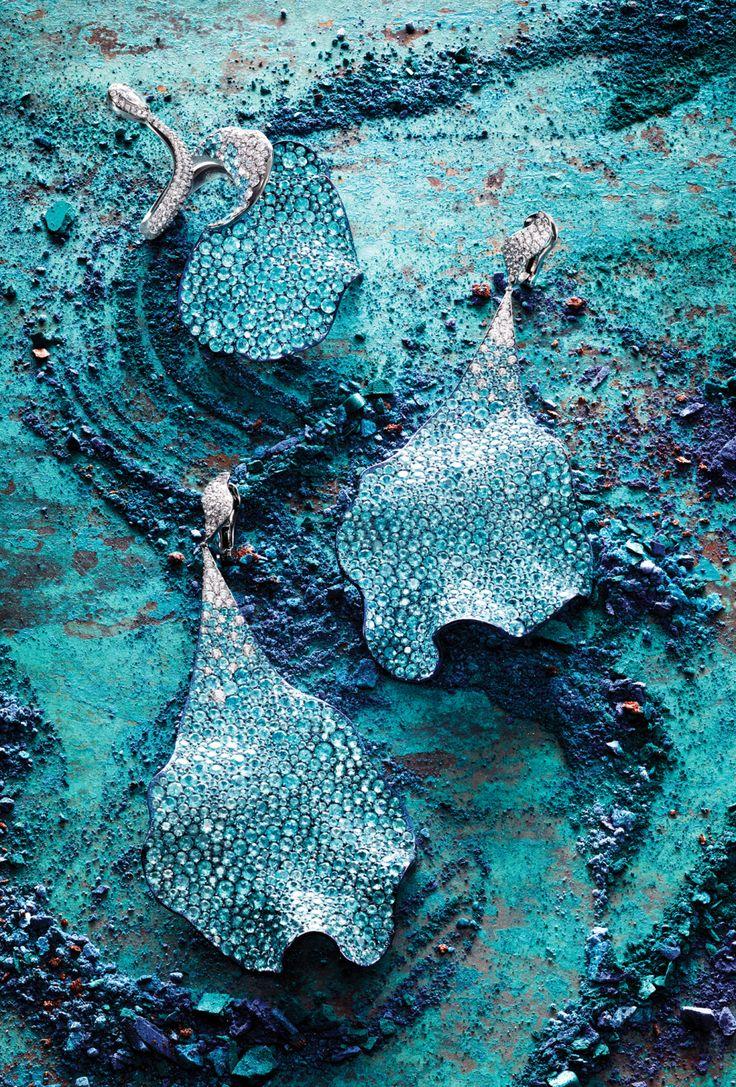 Chopard's titanium, diamond and paraiba tourmaline ring and earrings. [Photo: Claire Benoist]