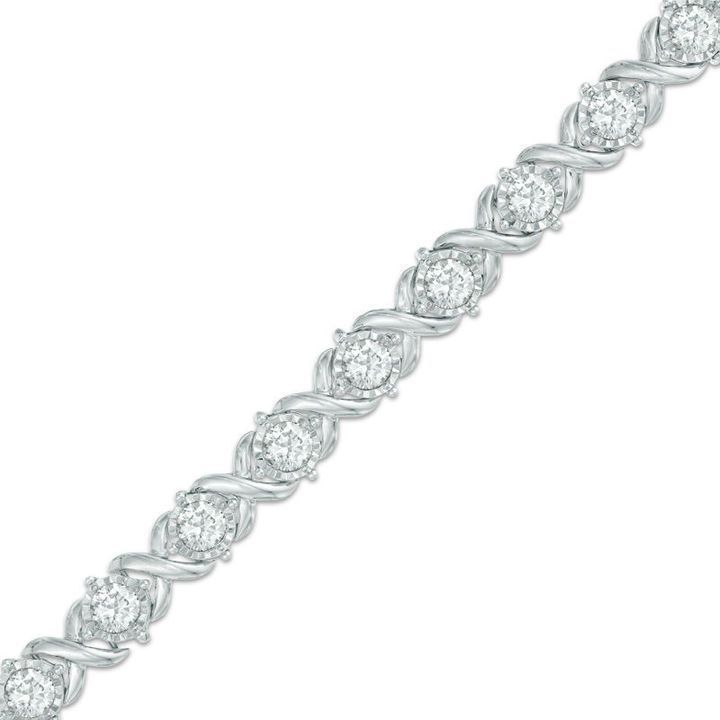 Zales 4 Ct T W Diamond Tennis Bracelet In 10k White Gold Diamondbracelet Womenswhitegold Sparkly Bracelets Bracelets Gold Diamond Sterling Silver Bracelets