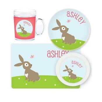 Bunny Personalised Kids Mealtime Set $32.95 - $39.95 #sweetcreations #baby #toddlers #kids #personalised