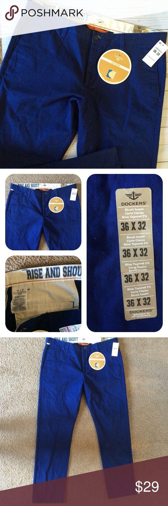 Dockers Game Day Yale Blue Khaki Pants Men's 36x32 Yale Game Day Dockers Slim Fit & Tapered Yale Blue Khaki Pants Dockers Pants Chinos & Khakis