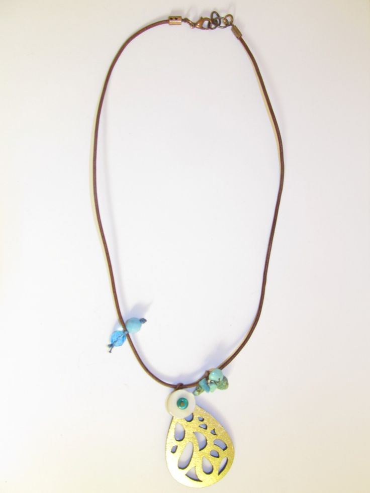 Handmade short leather necklace (1 pc)  Made with leather filigree, brown leather cord, mother of pearl, glass beads and turquoise stones.