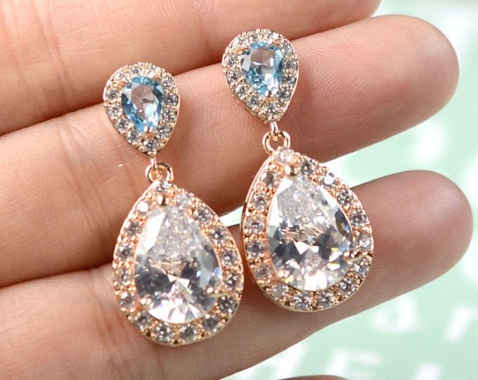 Aquamarine blue aqua ROSE GOLD Wedding Jewelry Bridesmaid Gift Bridesmaid Jewelry Bridal Jewelry earring Drop dangle Earring,bridesmaid gift