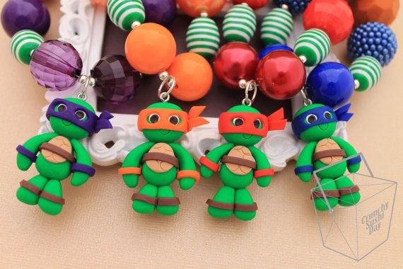 TMNT Girl Polymer Clay Necklace ONLY Polymer by CrunchySushiDay, $16.00