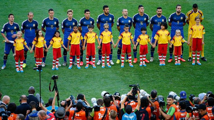 Argentina players line up on the pitch