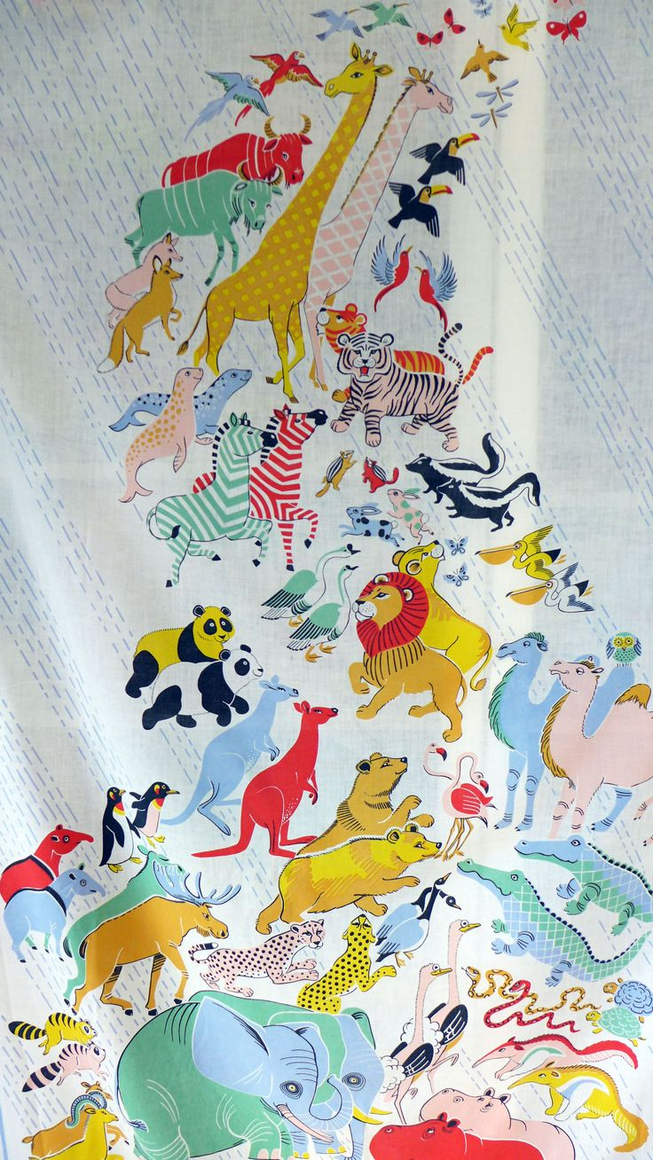 Noah 39 s ark vintage fabric panel there 39 s two of these and for Children s fabric panels