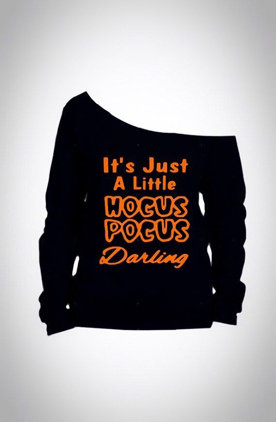 womens off shoulder halloween shirt / Its just a little hocus pocus darling / Womens halloween shirt by FierceClothing1 (21.99 USD)