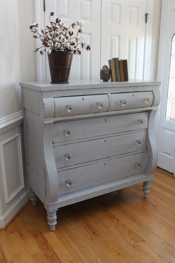 Vintage Empire Chest Of Drawers Annie Sloan Chalk Paint Paris Grey Bedroom Dresser Living Room