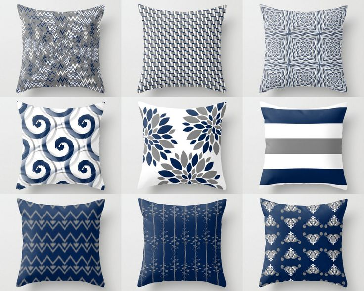 Throw Pillow Cover, Pillow Covers, Navy White Grey, Accent Pillows, Cushion  Covers