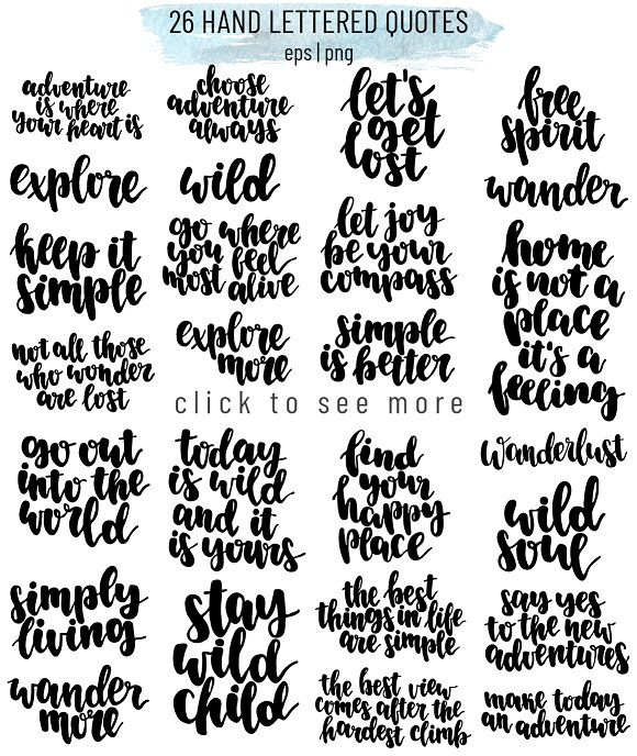 collection of lettering words and quotes & hand drawn capming equipment, mountains, tent etc. #creativemarket