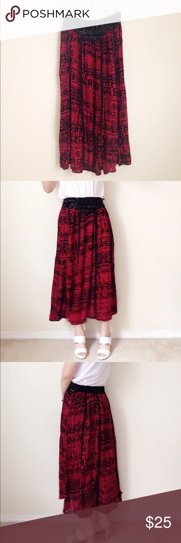 """Angie black/red soft rayon Aztec maxi skirt Thin, soft and flowy maxi skirt. Classic black and red. Unique black sequin design in front. 100%rayon. Size S, waist 12 1/4"""" (elastic band), length 34"""" (model size S, 5'5""""). Worn 1-2 times. 🚫no trade Angie Skirts Maxi"""