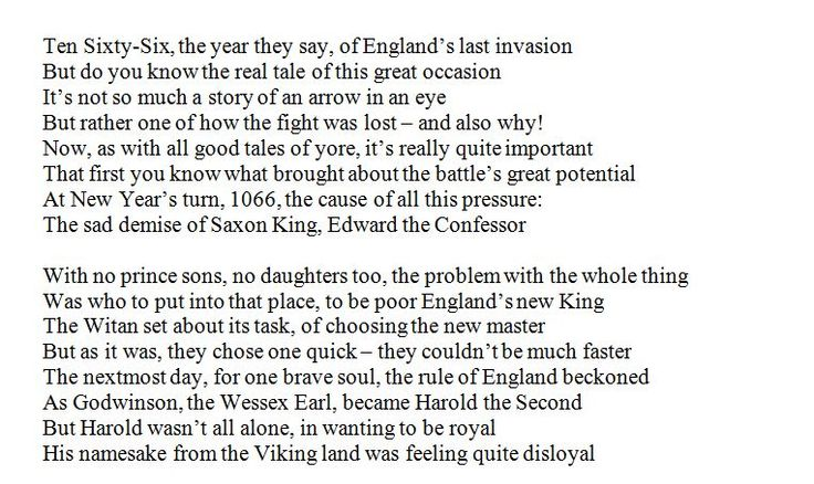 An extended poem telling the story of the events of 1066, from death of Edward the Confessor, to the crowning of William