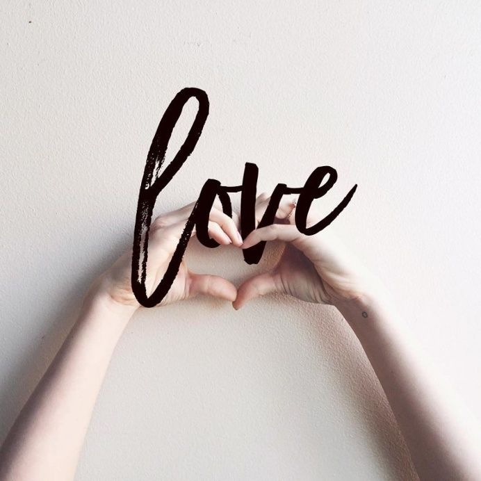 LOVE brush script lettering in Typography