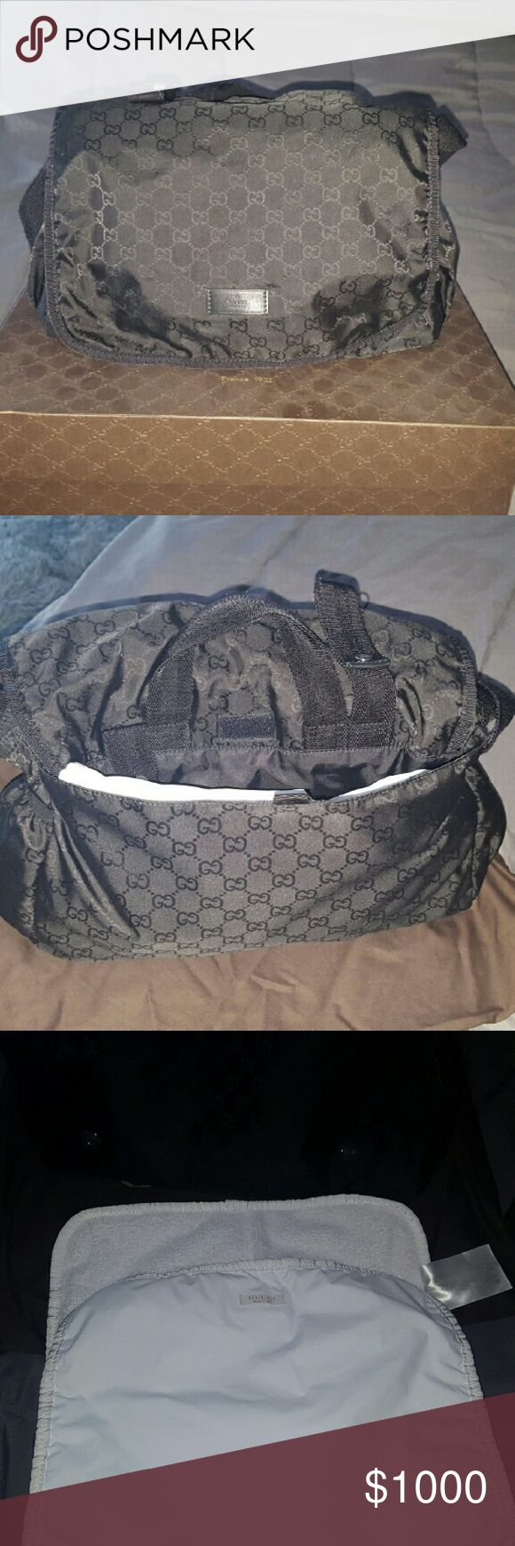 Black gucci diaper bag 100% authentic. I m selling my diaper bag Its used but its like new. I have the receipt the dust bag and also the box. Gucci Bags Baby Bags