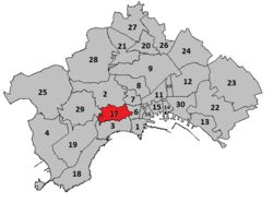 """Vomeroè uno dei quartieri collinari diNapoli, i suoi abitanti sono chiamati vomeresi.  Confina a nord con il quartiereArenella, ad ovest con i quartieriSoccavoe Fuorigrotta; a sud con il quartiereChiaiae ad est con il quartiereMontecalvario e, sempre ad est, ma per pochissimi metri, con il quartiereAvvocata.  Con la """"riforma del decentramento"""" deliberata nel2005, il Vomero con l'Arenella forma laMunicipalità V, che, con i suoi 120.000 abitanti, è la più densamente popolata della…"""