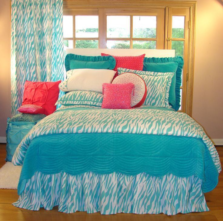 Aqua And Pink Bedroom Ideas: Turquoise Zebra Teen Bedding