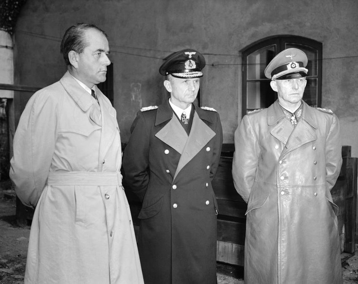 Substitute government: WW2 has been lost but after the suicide of Hitler, Dönitz formed a new government. It ended in Flensburg on May 23, 1945, when the members of this government are arrested. Albert Speer, Karl Dönitz and Generaloberst Alfred Jodl after their arrest.